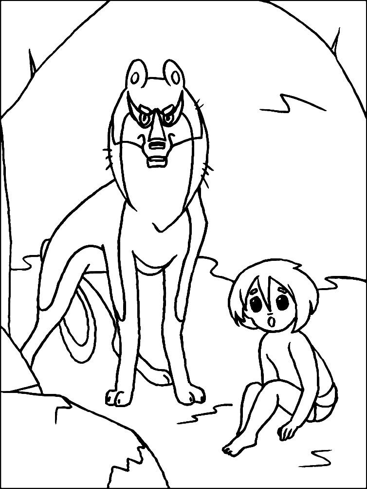 Раскраска волк Акела и Маугли
