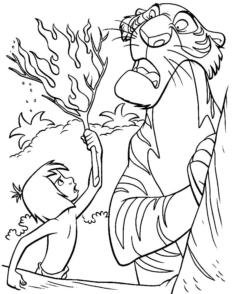 Раскраска Маугли и Шерхан