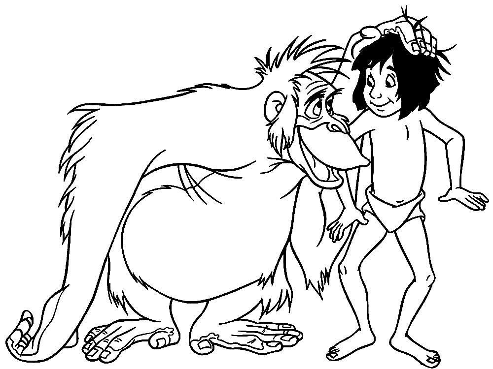 Раскраска Маугли и обезьяна