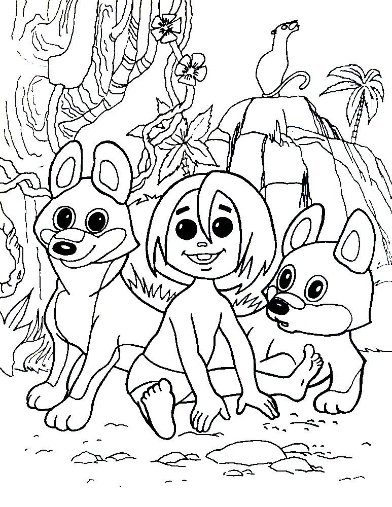 Раскраска Маугли воспитывается с волками