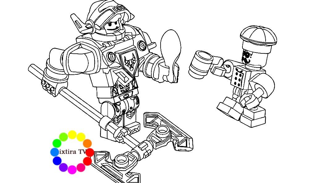 Раскраска человечки из конструктора Лего Нэксо Найтс