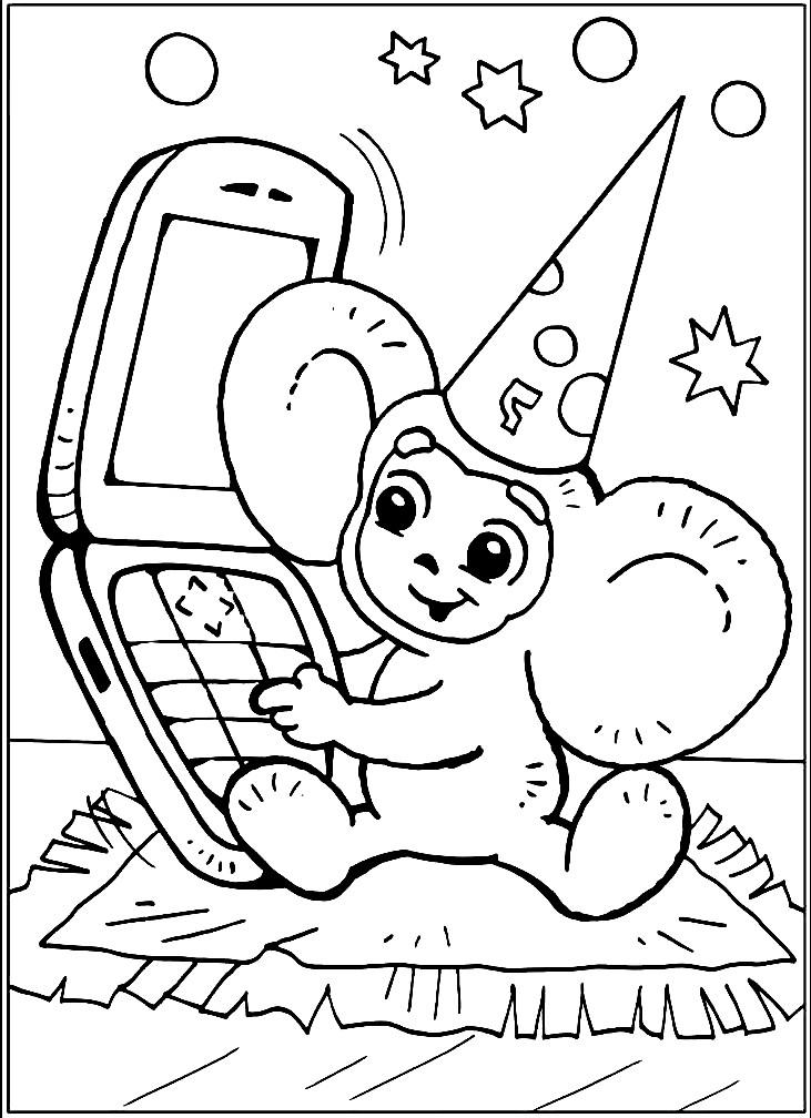 Раскраска детский телефон