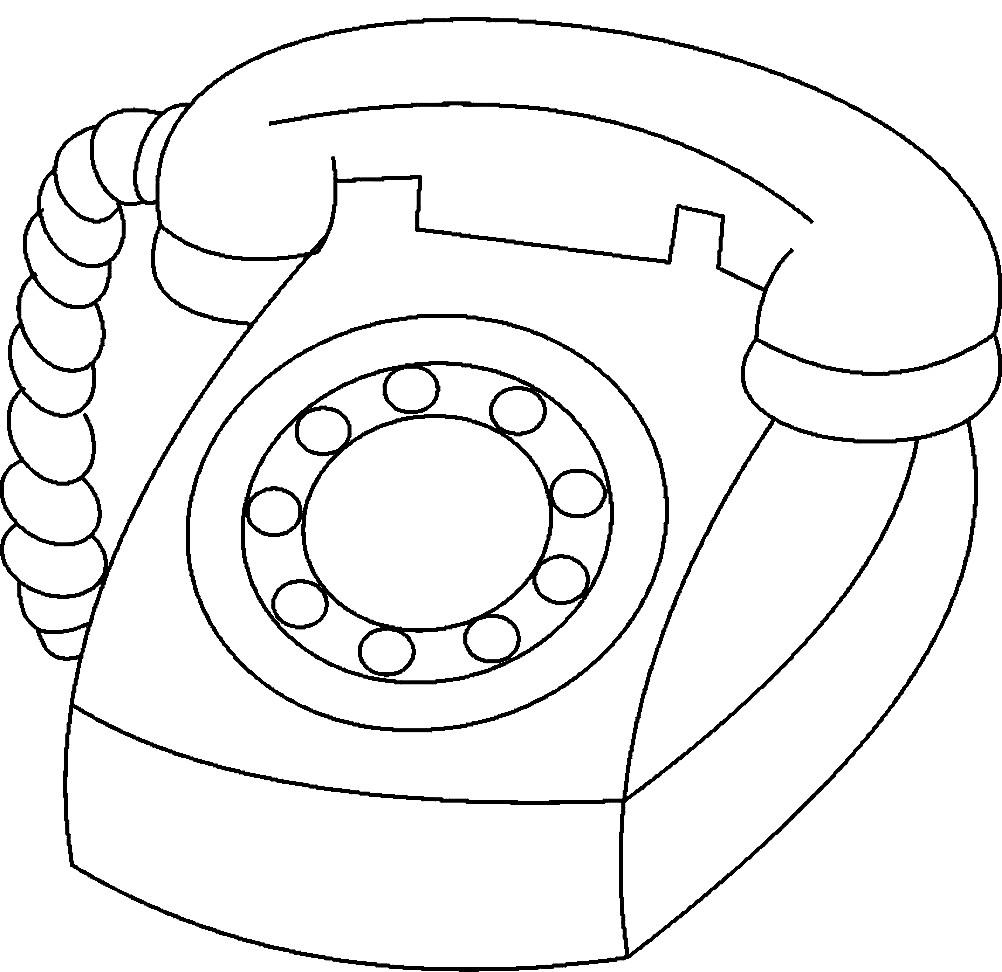Раскраска проводной телефон с трубкой