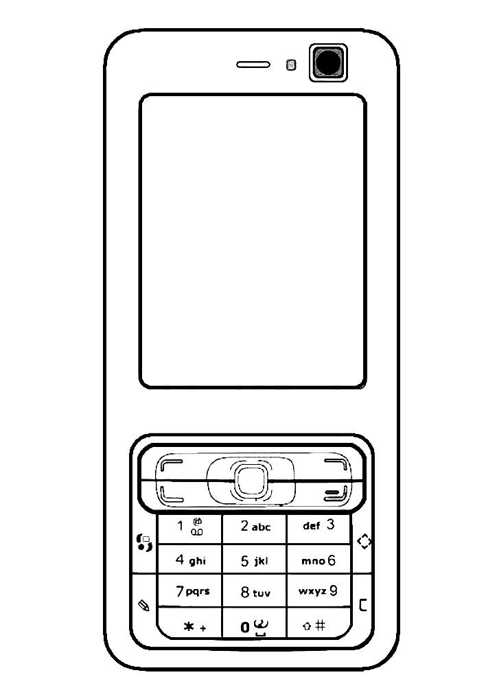 Раскраска сотовый телефон