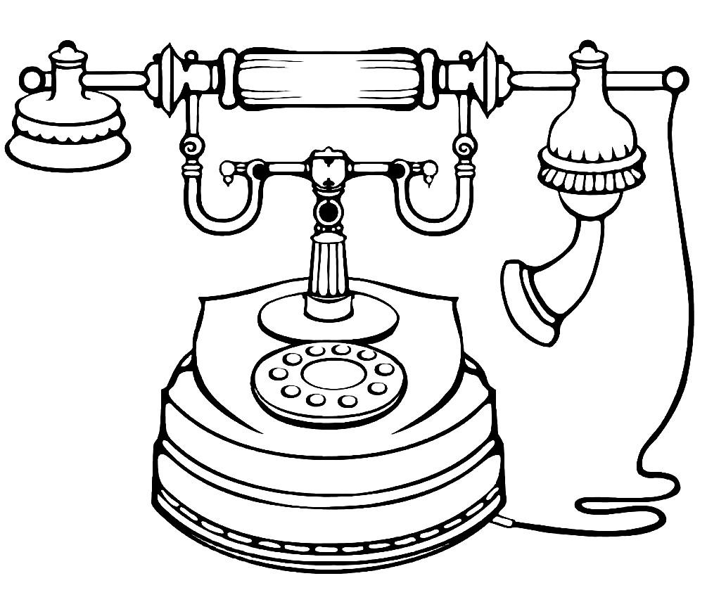 Раскраска старинный телефон