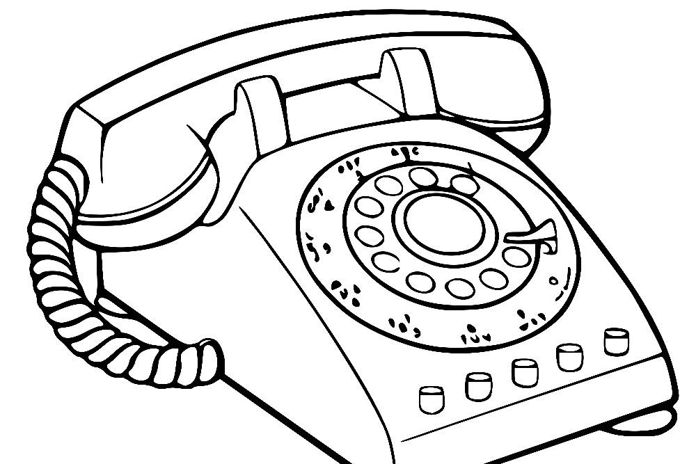 Раскраска домашний телефон