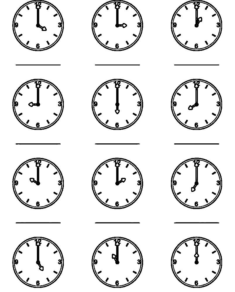 Раскраска изучаем время