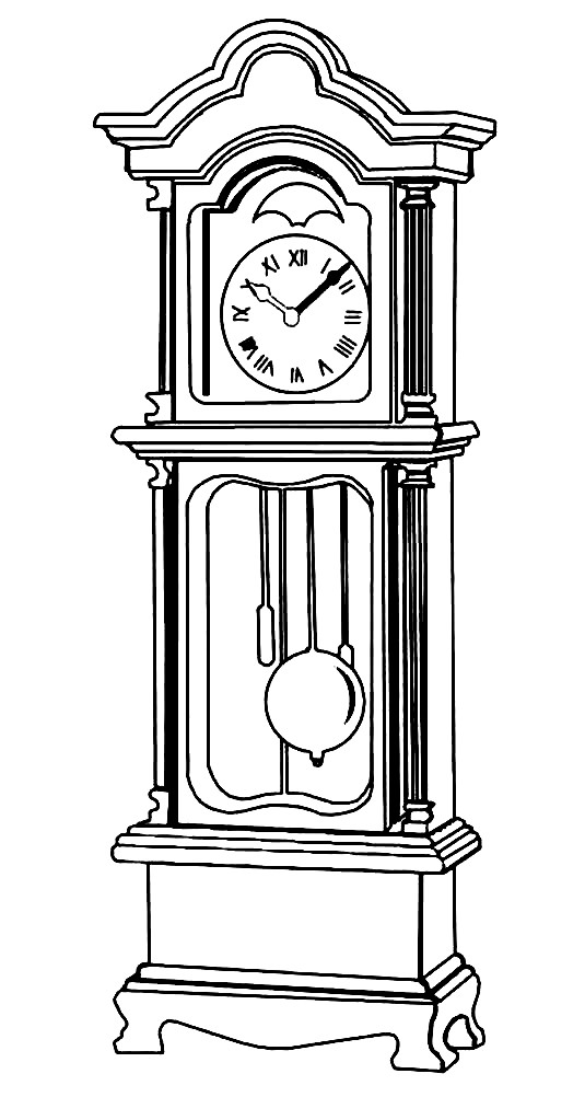 Раскраска большие часы с гирями