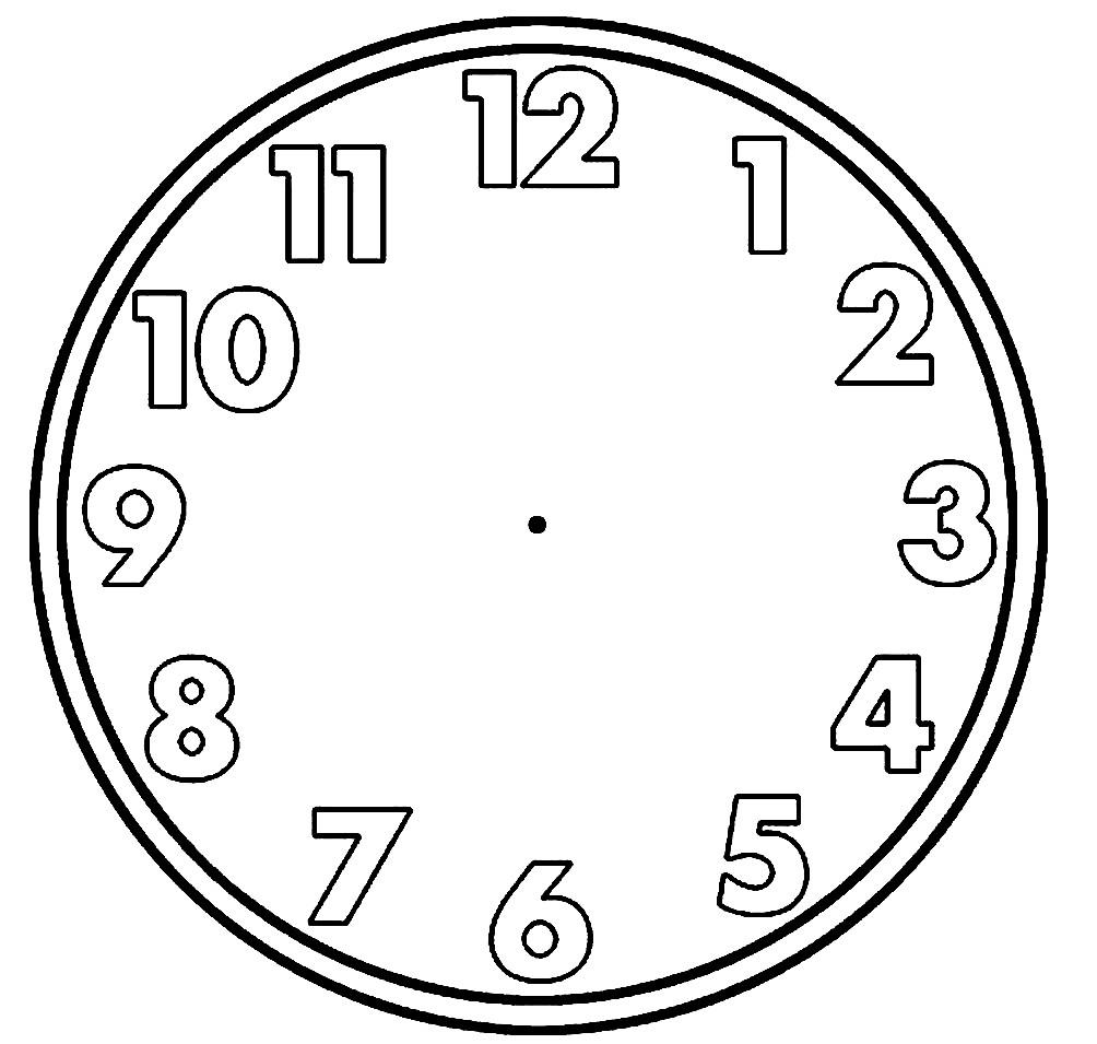 Раскраска часы без стрелок