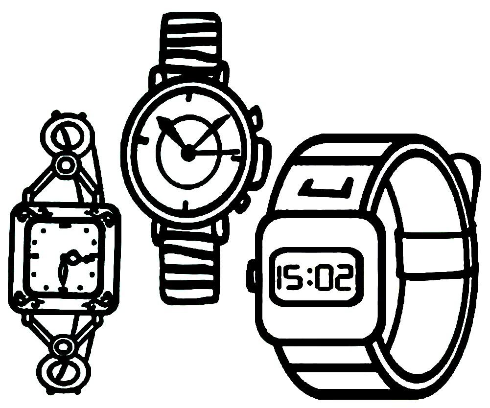 Раскраска виды наручных часов