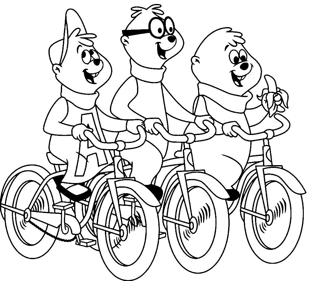 Раскраска Элвин и бурундуки на велосипедах