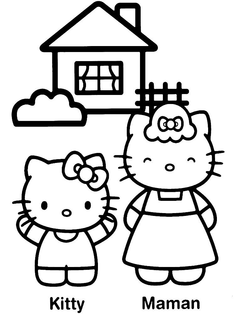 Раскраска Хелло Китти с мамой