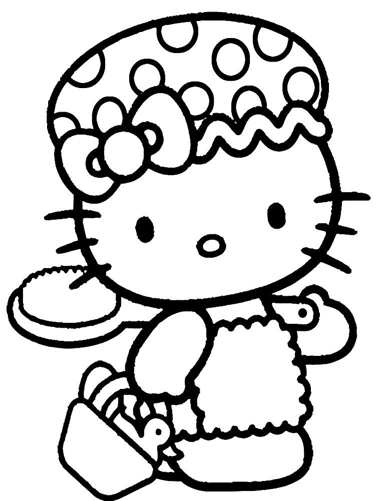 Раскраска красивый котенок Китти