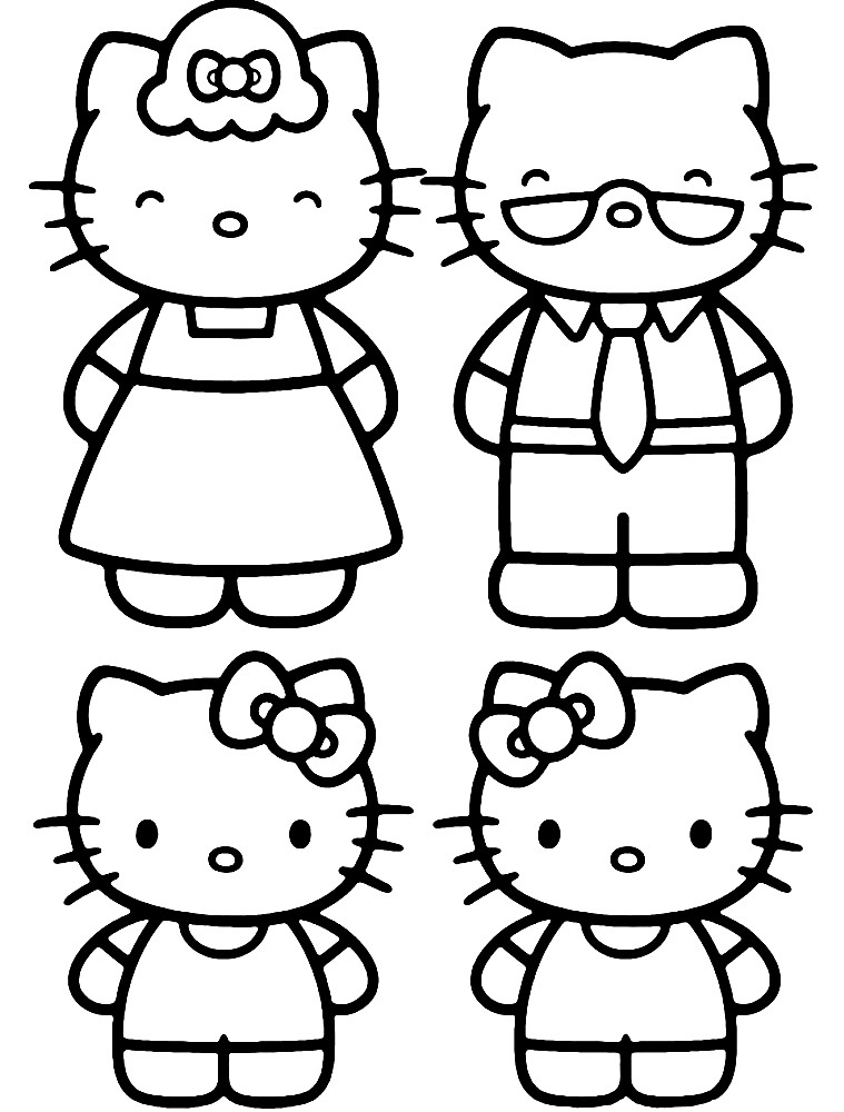 Раскраска Хелло Китти с семьей