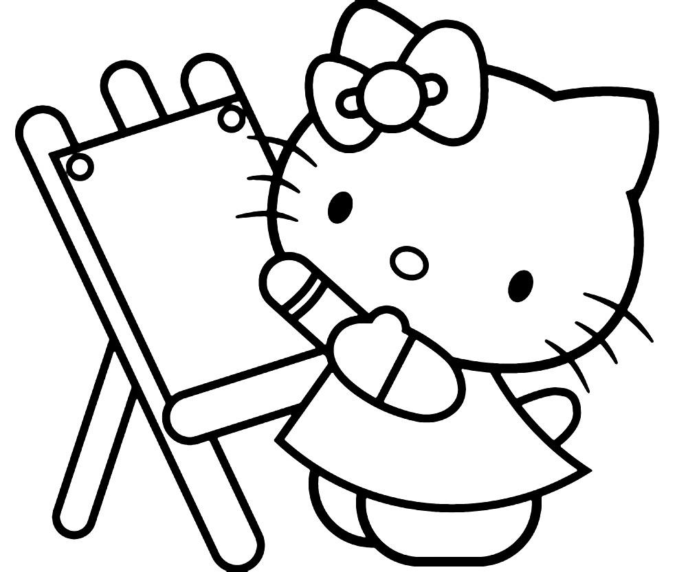 Раскраска Китти рисует