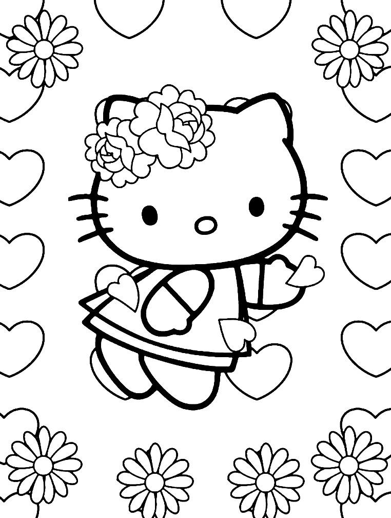 Раскраска Хелло Китти с сердечками
