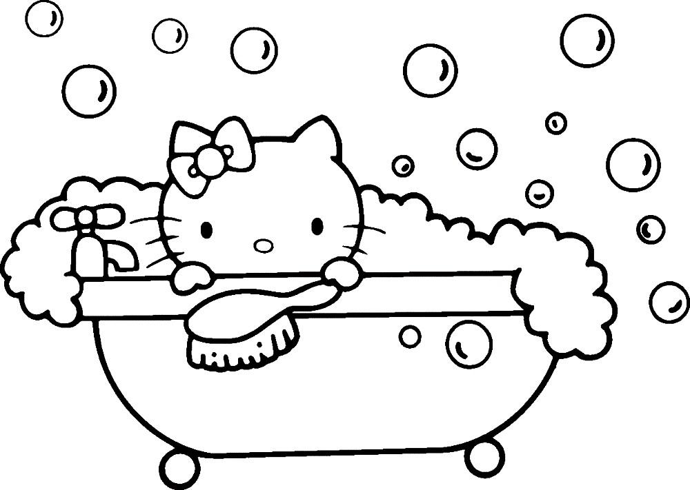 Раскраска котенок Китти в ванне