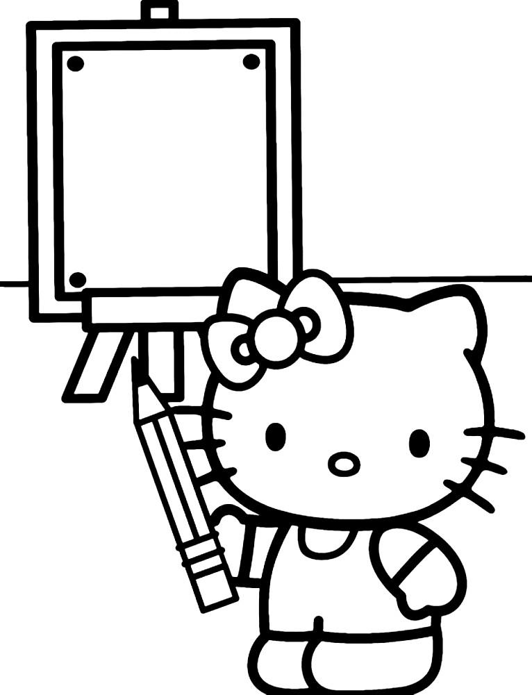Раскраска малышка Китти