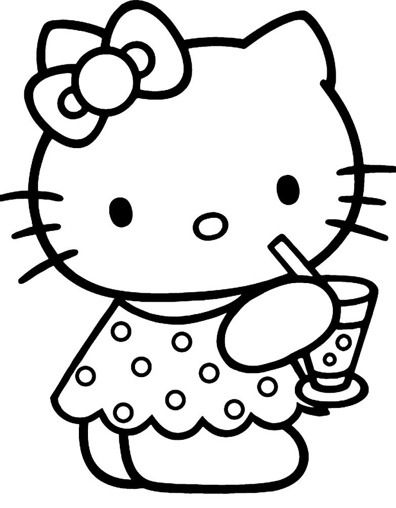 Раскраска котенок Китти