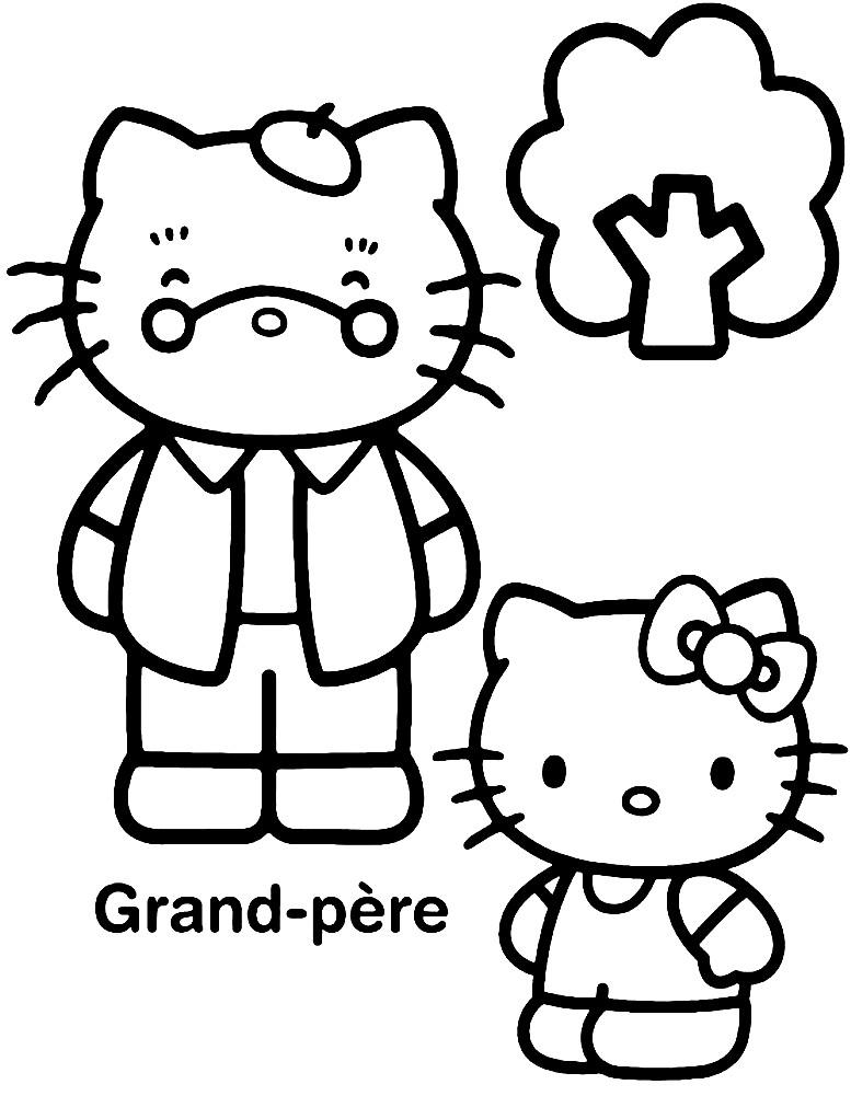 Раскраска Хелло Китти с дедушкой