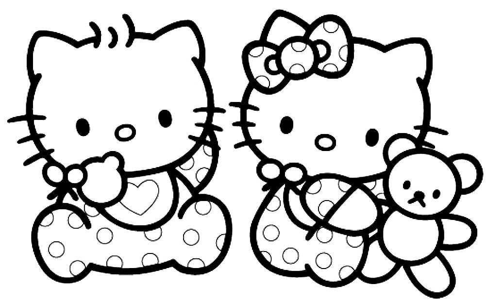 Раскраска Хелло Китти с сестрой