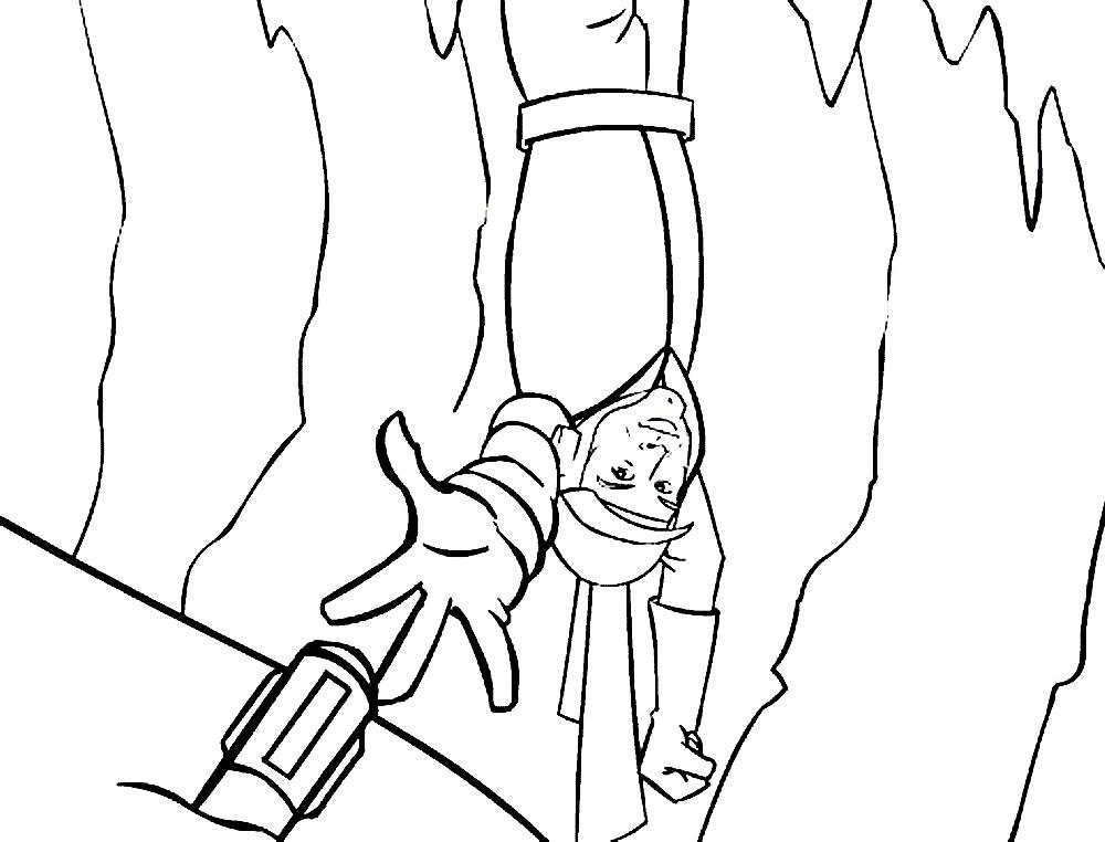 Раскраска Люк Скайуокер в опасности