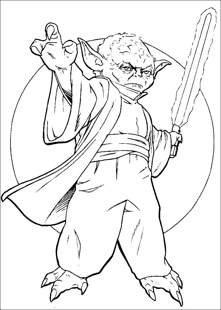 Раскраска меч учителя Йоды