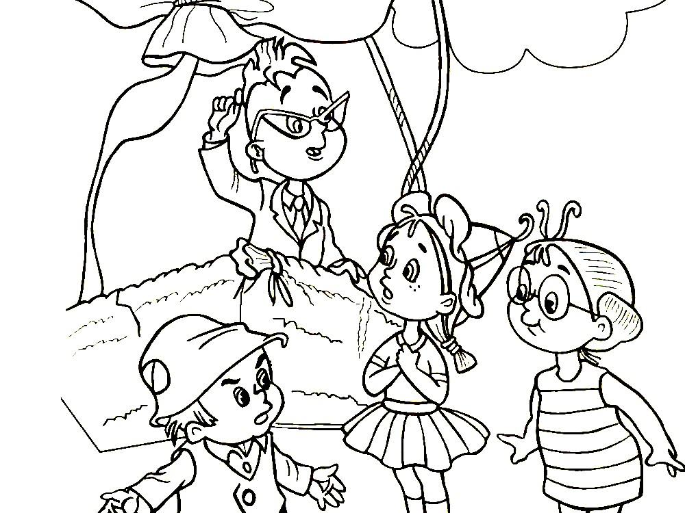 Раскраска Знайка с жителями цветочного города