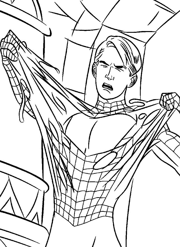 Раскраска костюм Человека Паука