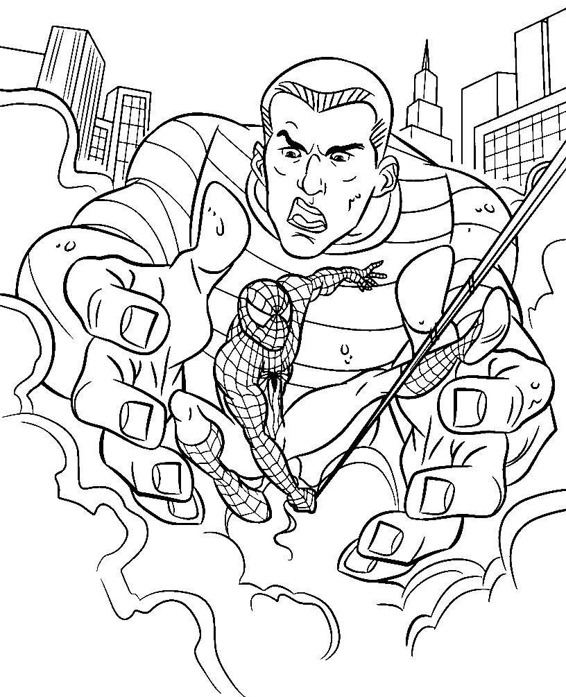 Раскраска Песочный человек и Человек паук
