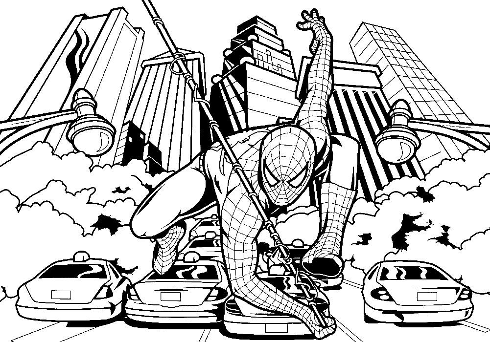 Раскраска Человек паук над городом