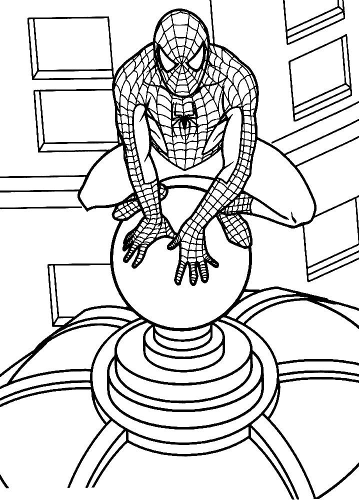 Раскраска Человек паук на крыше