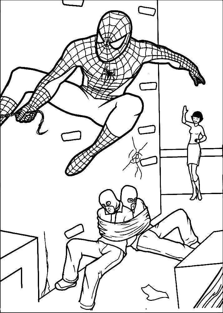 Раскраска Человек паук спасает заложников