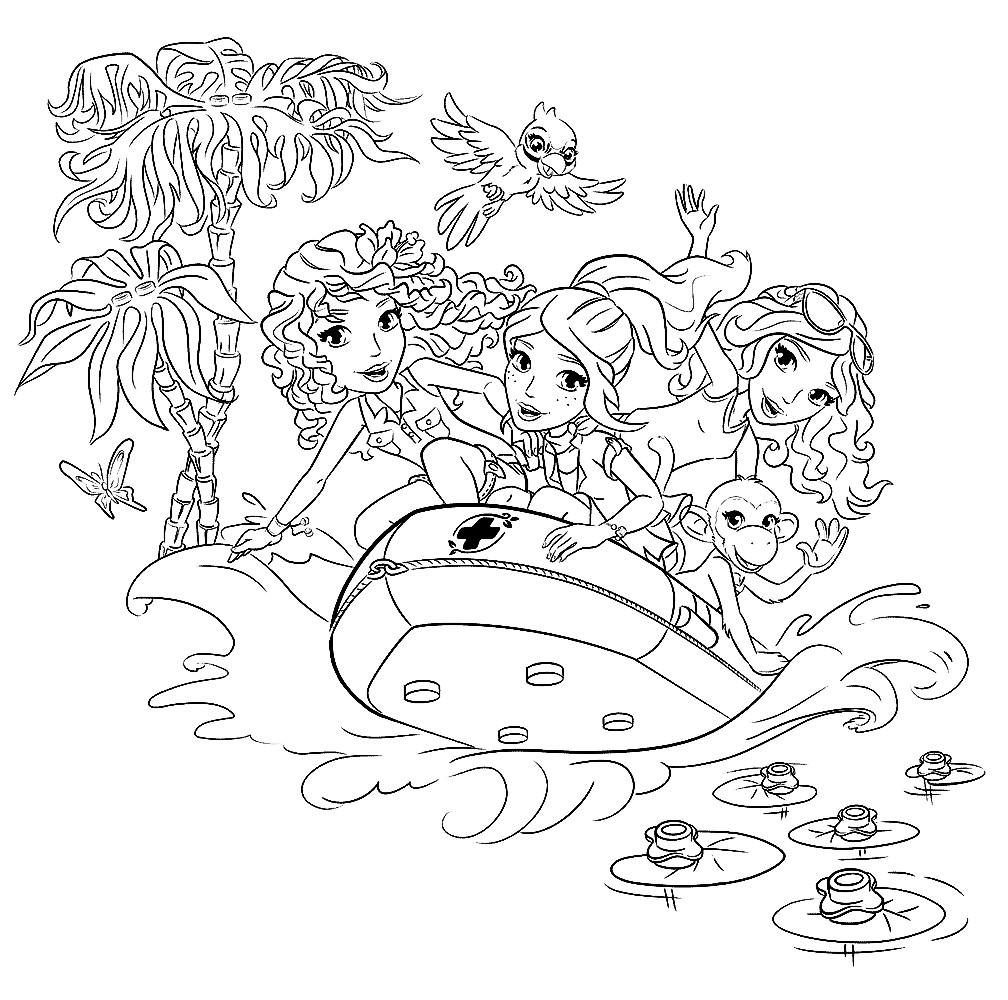Раскраска подружки плывут на спасательном катере