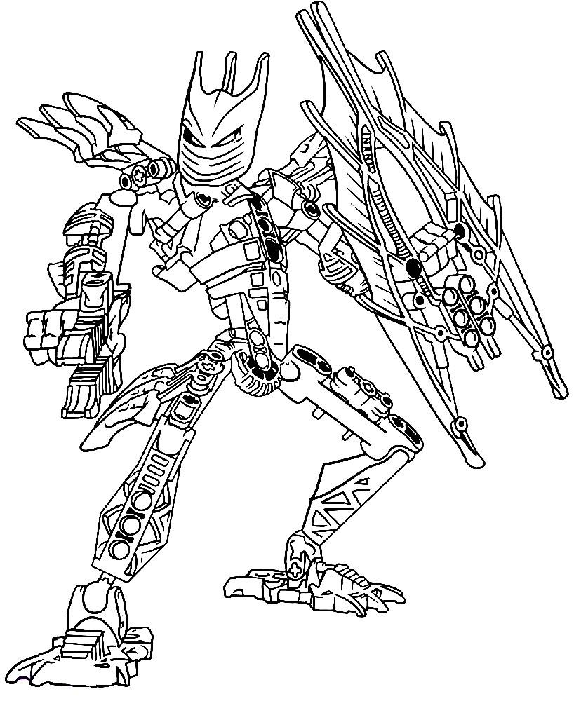 Раскраска персонаж Лего с оружием