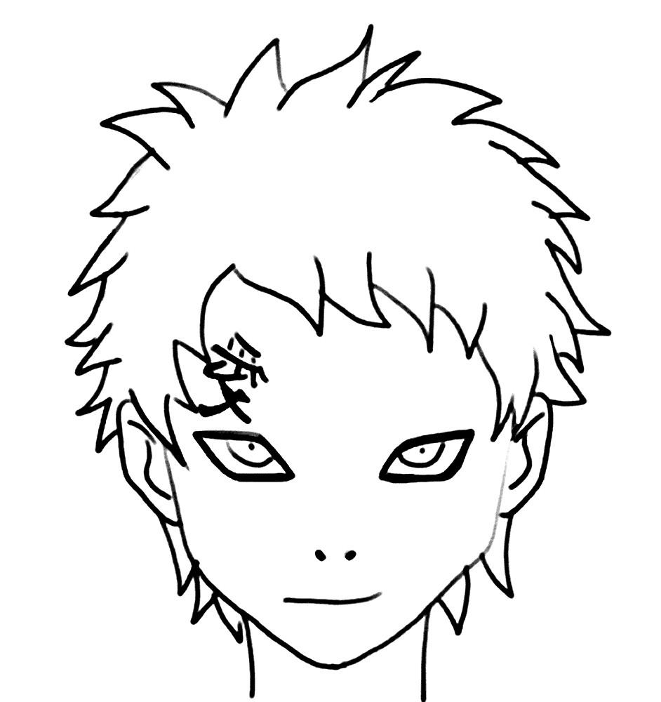 Раскраска портрет мальчика Наруто