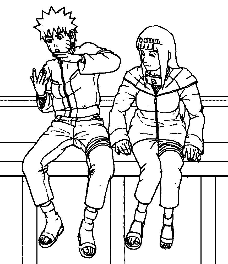 Раскраска Наруто с девушкой