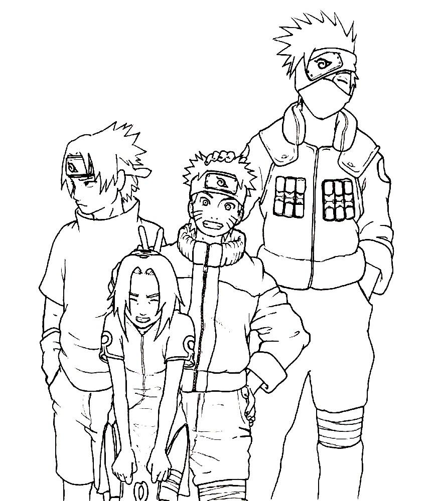 Раскраска Наруто с друзьями