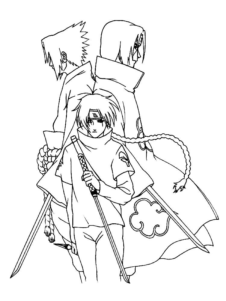 Раскраска гений клана Саске Учиха