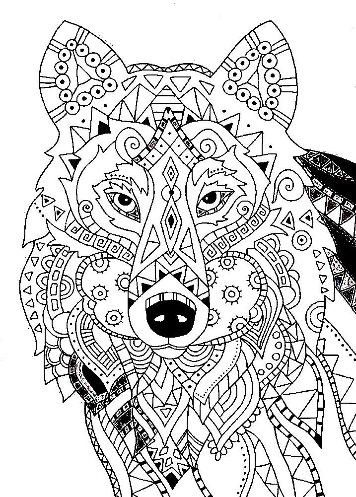 Раскраска антистресс волк с узором