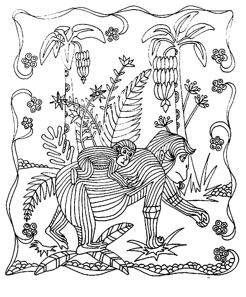 Раскраска антистресс обезьяны