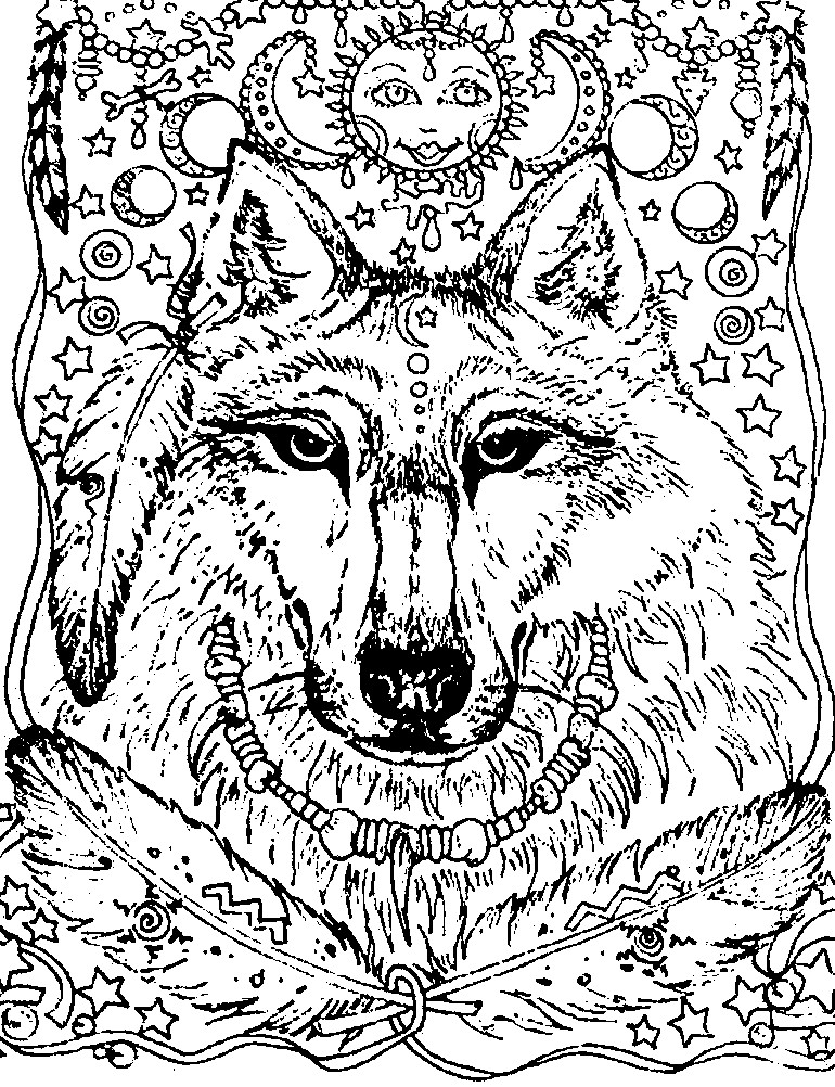 Раскраска антистресс ночной волк
