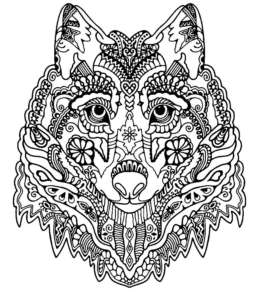 Раскраска антистресс красивый волк