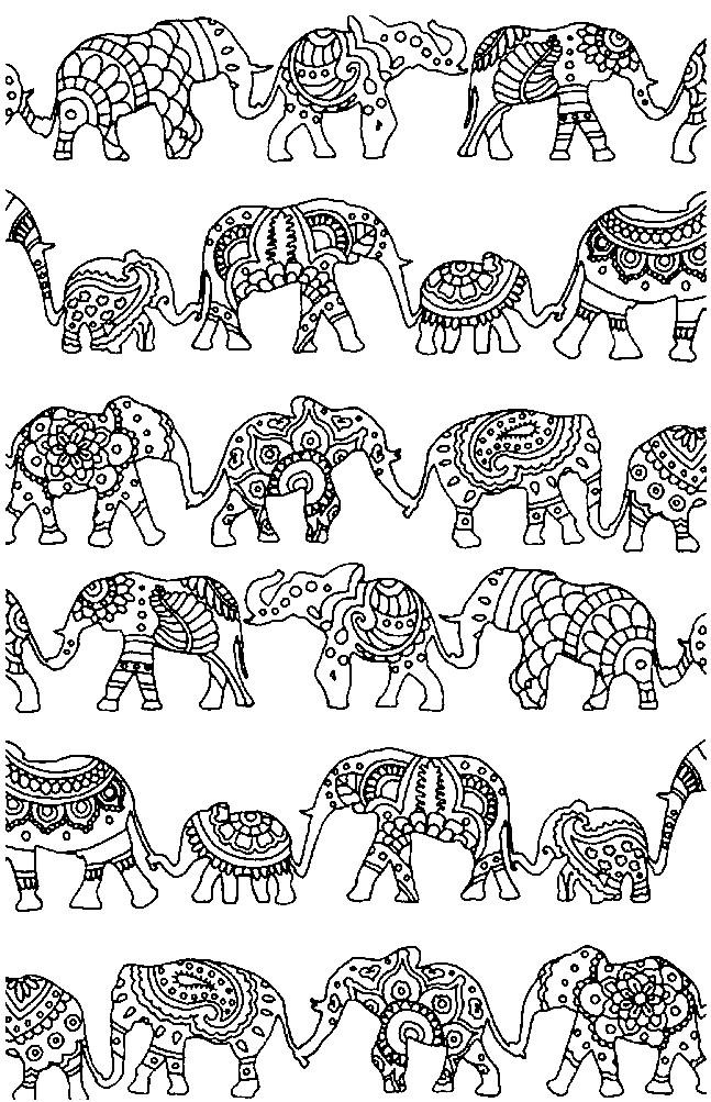 Раскраска антистресс слоны