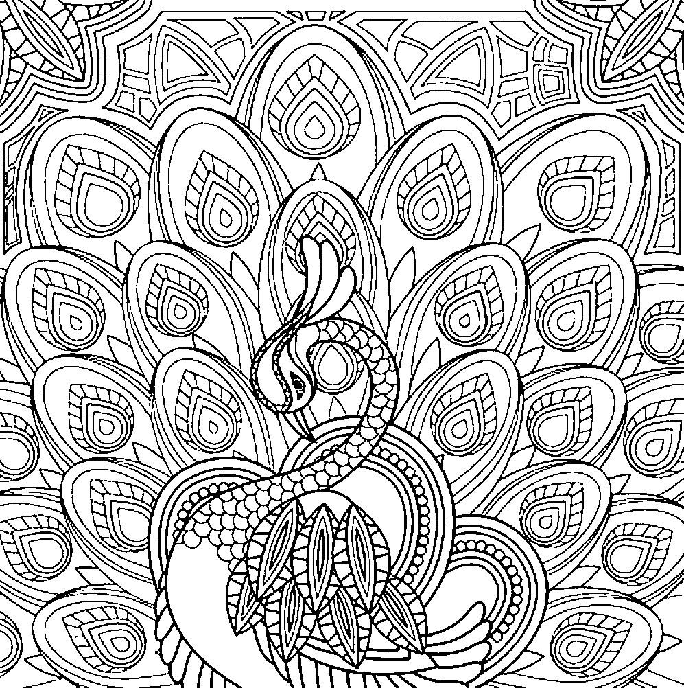 Раскраска антистресс павлин