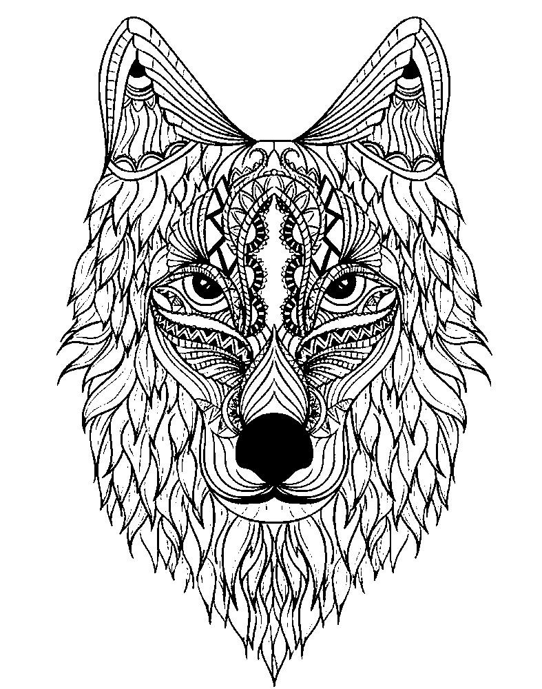 Раскраска антистресс сказочный волк