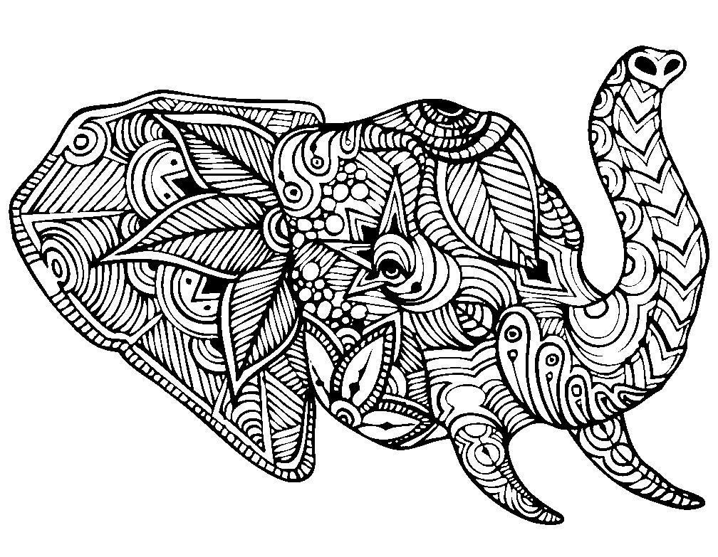 Раскраска антистресс голова слона