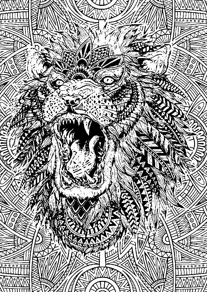 Раскраска антистресс львиная голова