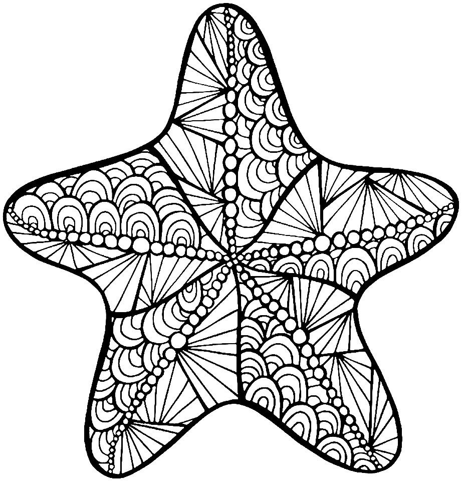 Раскраска антистресс морская звезда