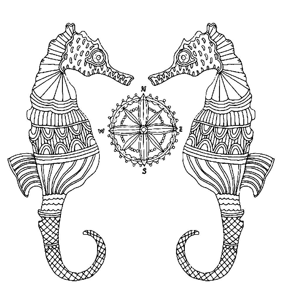 Раскраска морские коньки антистресс